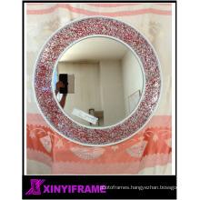 Red Glass Mosaic Round Wall Mirror ,bathroom wall Glass Mosaic Mirror