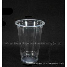 Copa desechable de plástico transparente de 95 mm de diámetro superior