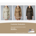 Hood No Fur Fashionable Women Black Long Goose Down Winter Coat with Belt