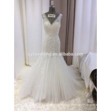 Alibaba Elegante Ivory Deep V-cuello sin mangas Appliqued vestidos de espalda baja Tulle falda de encaje sirena vestido de novia 15059