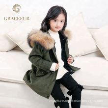 Good price real fur lined parka with hood kids