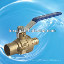 lead free Pex copper brass ball valves with drain Pex*Solder CUPC