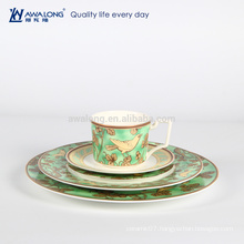 Green Painting Natural Style Porcelain Dessert Plate, Hot Sale Luxury Porcelain Tableware