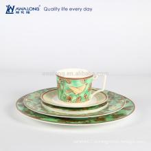 Зеленая картина природного фарфора Десертная плита, горячая продажа Роскошная фарфоровая посуда