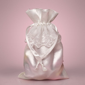 pure white drawstring satin bagpouch with lace