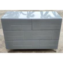 Grey Glass Stainless steel leg 6 Drawer Chest