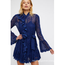 Delicate Sheer Lace Mini Dress Statement Ruffle Detailing Down The Front