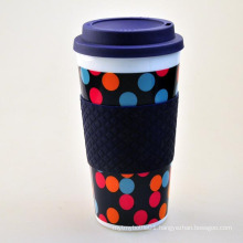 400ml plastic coffee mug, plastic mug with silicone ring, mug plastic