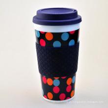 Caneca de café de plástico de 400 ml, caneca de plástico com anel de silicone, caneca de plástico