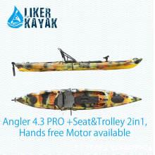 Motorboote Angeln Kajak sitzen auf der Oberseite Einzelsitz mit 2in1 Sitz und Trolley