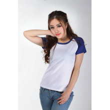 Wholesale Plain Women T Shirt Blank Raglan Sleeve Tshirt (TW-025)