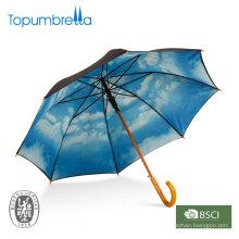 """Capa doble recta de madera de 23 """"cielo azul con nubes paraguas"""