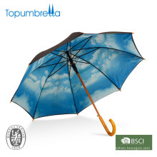 Wooden offset straight blue sky with clouds umbrella