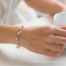 Fresco e contratado três camadas faux pulseira de pérolas jóias com cercadura ornamentos pulseira