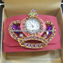 Relojes de la joyería del abrigo del cuero de la corona del Rhinestone de la voga WW70