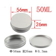 Tarro de aluminio de 50 ml para caja de muestra