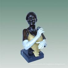 Büsten Messing Statue Sänger Dekoration Bronze Skulptur Tpy-486c