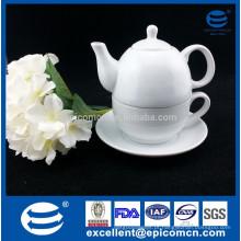 Conjunto de chá de cerâmica branca para um, utensílios de chá de graça de porcelana fina