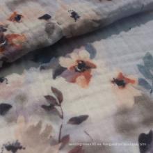 Tela de gasa doble de algodón de los años 50 impresa para vestido