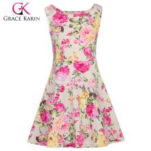 Grace Karin Crianças Crianças Meninas mangas de gola pescoço A linha vestido de verão impresso floral CL010487-2