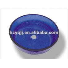 L'évier en verre de salle de bains bleu rond de 10 à 12 mm inclut un bol en verre à dragueur