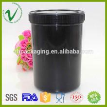 Boca ancha personalizada negro cilindro vacío Plástico Jar para embalaje de tinta