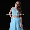 2017 latest design gorgeous bridesmaid dresses 2pcs set laced light blue bridesmaid dresses long