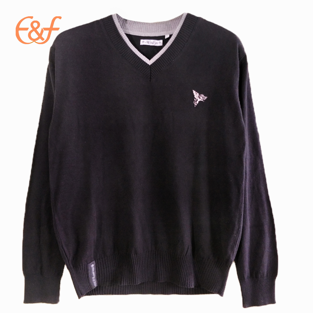 V Neck Mens Custom Sweater Design Knitting Pullover