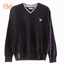 V Neck Mens Custom Sweater Design Tricot Pullover