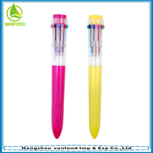 Pluma de bola plástica Linda 10 color multicolor bolígrafo, pluma multicolor promoción 10 en 1 para estudiantes