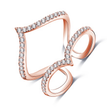 Rose Gold Messing Micro Inlay Zirkon Joint Ring Schmuck (CRI1030)