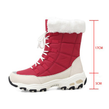 High-top non-slip outdoor fashion waterproof warm fur Thick chunky sole women's winter snow boots