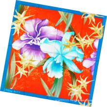Fashion Lady Flower Printed Square Silk Scarf (HC1302-4)