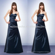 New Arrival 2014 Navy Blue Satin A-Line Bridesmaid Dress Sweetheart Floor-length Long Prom Gown With Pleats Accent NB0730