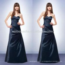 Новое поступление 2014 темно-синий атласная-line платье невесты милая длина пола длинные Пром платье со складками NB0730