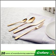 Свадебные мероприятия медные столовые приборы PVD покрытием золото набор столовых приборов