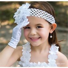 Flor nupcial de la muchacha guantes de satén de la boda barato de la longitud de la muñeca de encaje guantes de encaje guantes
