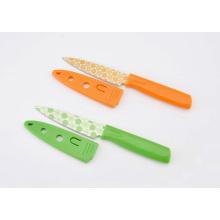 Couteau à éplucher coloré en acier inoxydable, couteau à fruits avec capuchon