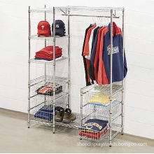 Mall Clothing Display Racks , Metal Garment Storage Shelves