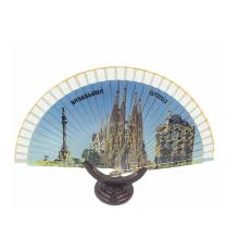 Padrão impresso promocional chinês personalizado ventilador de mão de bambu
