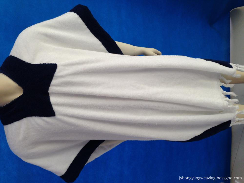 Adult White and Blue Poncho Towel