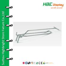 Metal looped hook with swinging ticket holde
