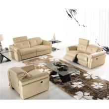 Sofá reclinável elétrico do sofá de couro do couro genuíno (714)