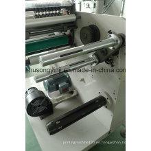 Etiquetado rotatorio de troquelado con cortadora, rebobinadora de torreta
