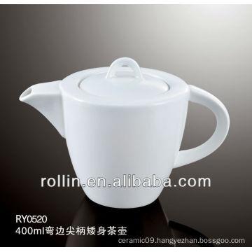 450ml Guangzhou hotel and restaurant supplier white elegant design square crockery tea pot, coffee pot