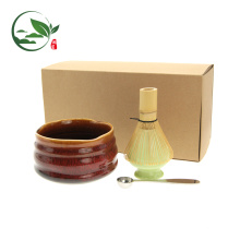Fouet en bambou Matcha + Bol + Cuillère + Fouet, Set de thé Matcha avec boîte-cadeau