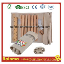 Conjunto de artigos de papelaria Eco com caixa de lápis e régua
