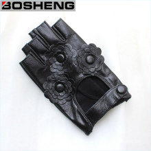 Women Warm Fingerless Half Gloves with Leather