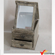 French Farming Style Wood Mirror Jewellery Cabinet