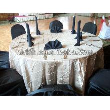 Orner pintuck taffetas carrée/ronde nappe, couverture de table